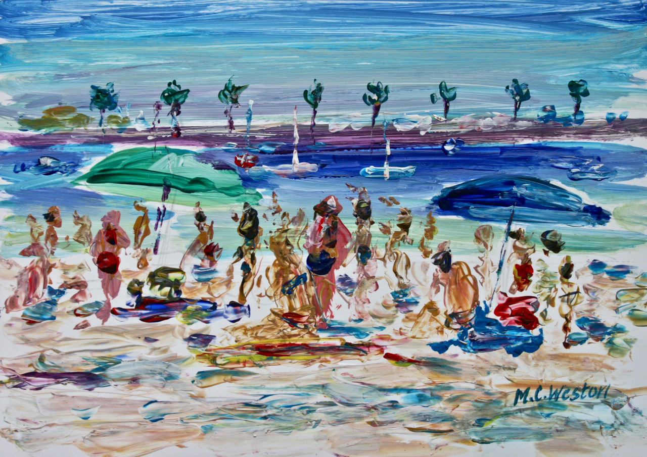 On the beach, Portugal 1 acrylic painting by Mark Weston, Artist