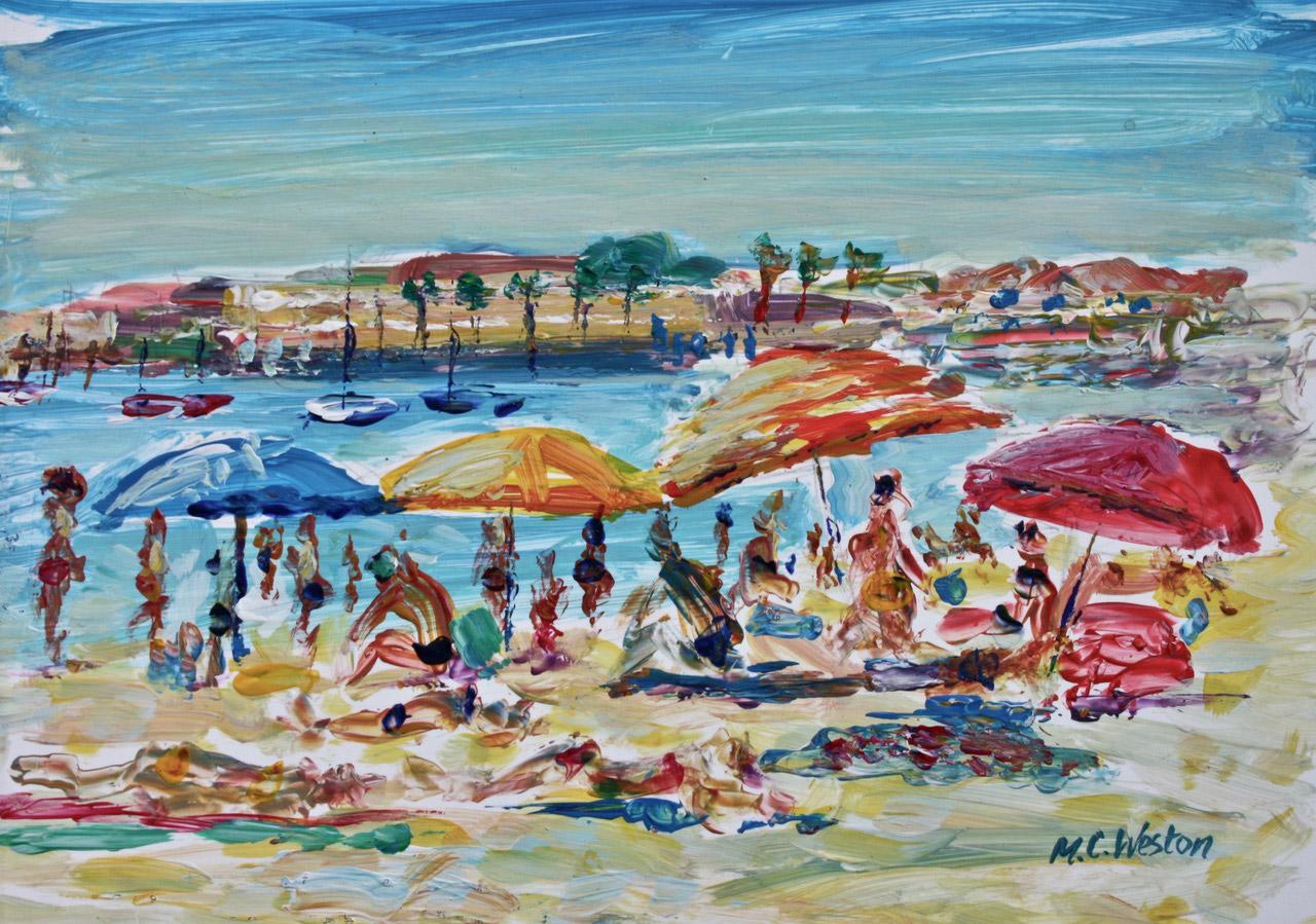 On the beach, Portugal 2 acrylic painting by Mark Weston, Artist