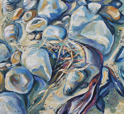Pebbles 1 acrylic painting by Mark Weston, Artist