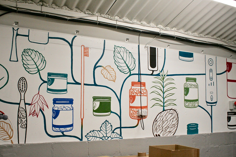 Hand painted warehouse wall